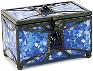Mosaic Glass Memory Keepsake Chest - Extra Small - Holds Up to 25 Cubic Inches of Ashes - Sapphire Blue Memorial Sympathy Gifts - Engraving Sold Separately