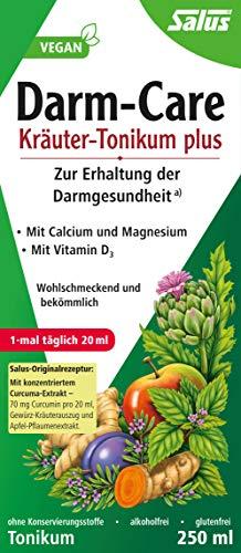 Salus Darm-Care Kräuter-Tonikum plus – zur Erhaltung der Darmgesundheit – mit Calcium und Magnesium und Vitamin D3 – vegan – 500 ml
