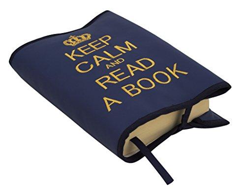Borda y más Funda Protectora para Libros y agendas en ECOPIEL Keep Calm and Read a Book (Marino/Dorado)