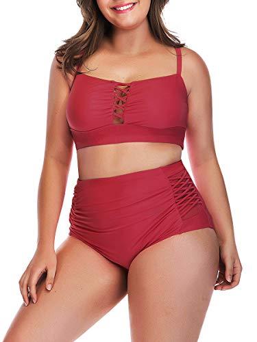 Yomoko Women's Plus Size High Waist Bandage Bikini Sets Chic Swimsuit Retro Bathing Suit 2XL Red