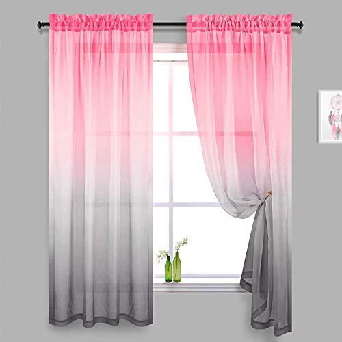 2er Set Sheer Voile Vorhang Stangedurchzug Transparente Gardine aus Voile Polyester Fensterschal Transparent Wohnzimmer Luftig für Schlafzimmer 132 X 182 cm (B x H), Rosa&Grau