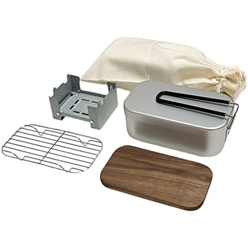 WHL Camping Kit de Utensilios de Cocina 80 80 0ML Caja de Almuerzo de Aluminio Accesorios Accesorios Equipo Camping Cocina Conjunto Caja de Almuerzo Ligero de Camping (Color : Black)