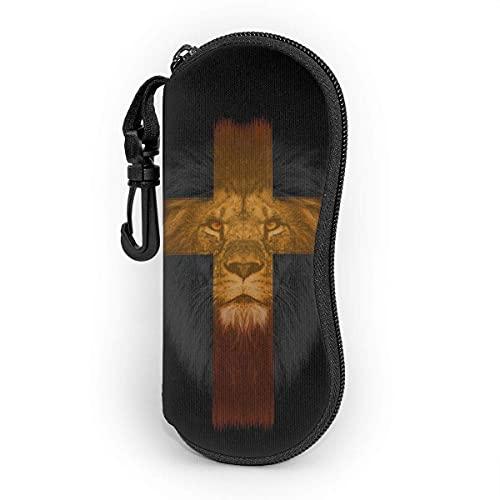 Custodia per occhiali, borsa morbida per occhiali da vista portatile a testa di leone, custodie per occhiali da sole Shoproof in neoprene con clip per cintura