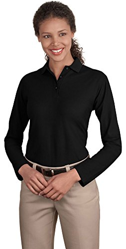Port Authority Ladies Long Sleeve Silk Touch Polo, Black, X-Large