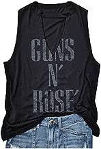 Amazing speed Women Hollow Out Guns N' Rose V-Neck Tank Top Sleeveless T-Shirt (Black, L)