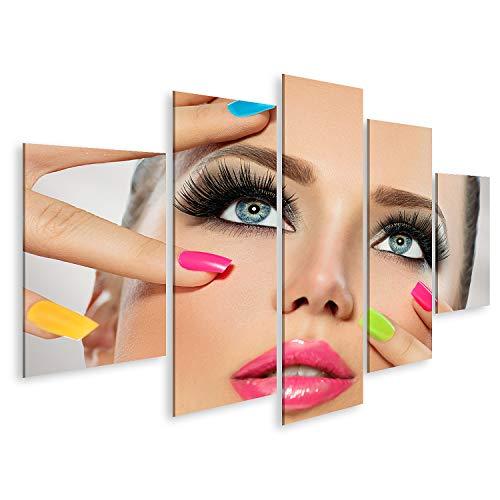 Bild Bilder auf Leinwand Beauty Girl Gesicht mit farbenfrohem Nagellack Maniküre und Make up Wandbild Poster Leinwandbild QBRP