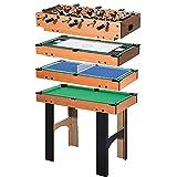 HOMCOM Mesa Multijuegos 4 en 1 Incluye Futbolín Air Hockey Ping-Pong y Billar Juguete de Madera para Niños y Adultos 87x43x73cm