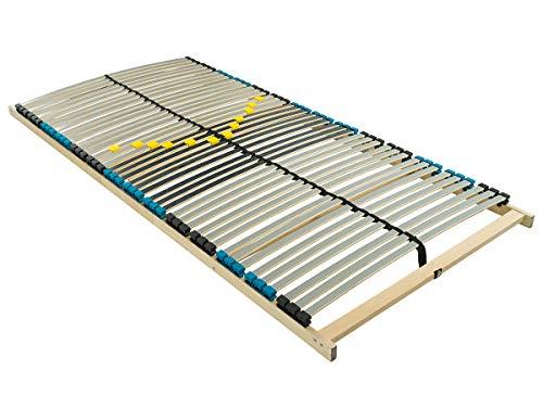 BMM Lattenrost Premium NV 7 Zonen mit 42 Federholzleisten, geräuschlose Duo HQ-Kappen, holmübergreifende Latten, ohne Verstellung, 100x200 cm