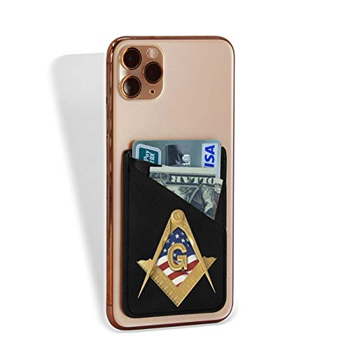 American USA Flag Square & Compass Masonic Freemason Phone Card Holder Pocket Credit Card Case Sleeve Stick On Wallet