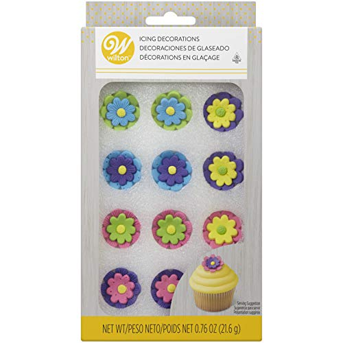 "Wilton Royal Icing Decorations (12 Pack), 1"", Multicolor Flowers"