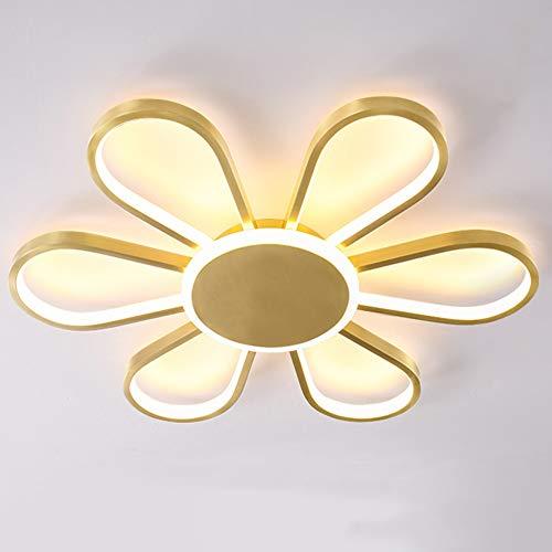 Seihoae - Plafón LED de 60 W, moderno creativo, color dorado y pétalo de techo de luz RGB Stepless Gradation lámpara es muy adecuada para el salón, dormitorio, pasillo y comedor.