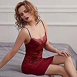 Gdofkh Pijamas Sexy Deep V de Encaje para Mujer Pijamas Sexy de Talla Grande de Seda Pijamas Sexy Europeos y Americanos