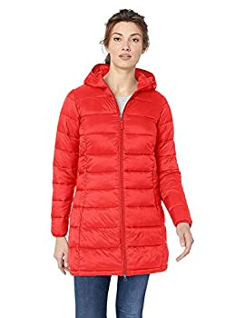 Amazon Essentials Women s Lightweight Long-Sleeve Full-Zip Water-Resistant Packable Hooded Puffer Coat red X-Large