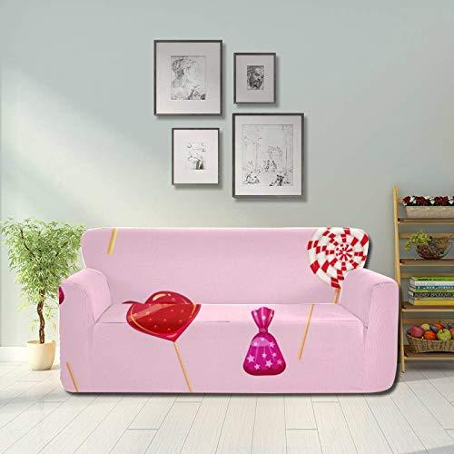 ALALAL Colorido Snack en Forma de corazón Lollipop Sofá Fundas para Muebles Fundas elásticas para sofá Funda Protectora para Muebles Ajustada 2