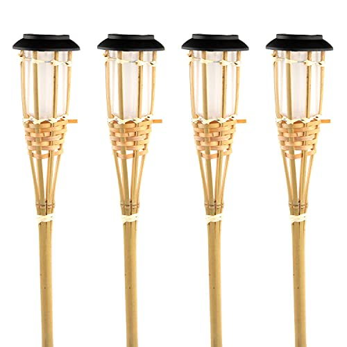 Pack 4 Antorchas Solares LED Exterior Bambú 7hSevenOn Outdoor | Antorchas de Bambú para Jardín Luz Cálida 3000K 0,1W Potencia 3 Lúmenes de Intensidad | Luces Decorativas de Jardín