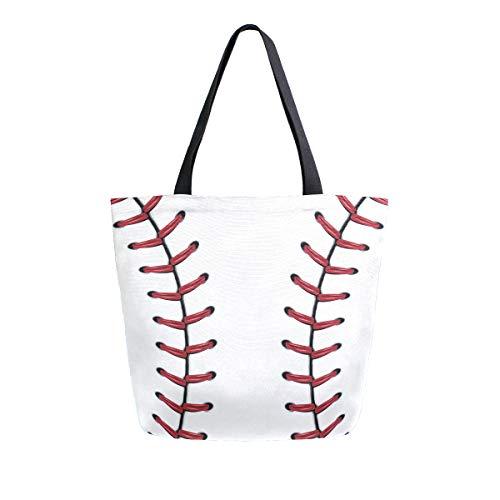 Naanle Sport Baseball Canvas Tote Bag Large Women Casual Shoulder Bag Handbag, Softball Baseball Lace Reusable Multipurpose Heavy Duty Shopping Grocery Cotton Bag for Outdoors.
