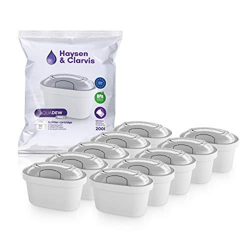 Haysen & Clarvis Wasserfilter Kartuschen Kompatibel mit Brita Maxtra, PearlCo, BWT, Dafi (10er Pack)