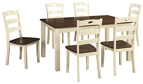 Signature Design by Ashley - Woodanville Dining Room Table and Chair Set - 7 Piece Set - White