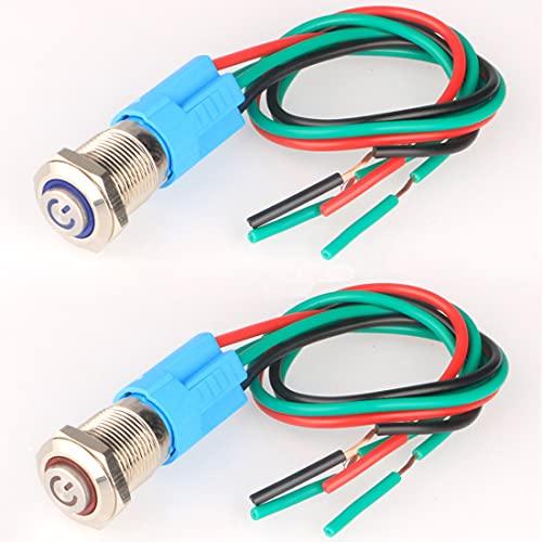 Gebildet 2pcs 12mm 220V 3A Interruptor de botón de Bloqueo Acero Inoxidable Impermeable Plana Top, Normalmente Abierto SPST ON/Off Pulsador con Enchufe de Cable(Azul+Rojo,Cabeza Alta)
