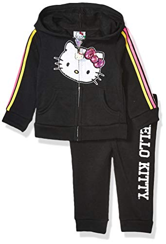 Hello Kitty Baby Girls 2 Piece Zip-up Hoodie and Pant Active Set, Black, 12 Months