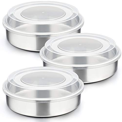 8-inch Cake Pan with Lid Set (3 Pans + 3 Lids), P&P CHEF Stainless Steel Round Baking Pan for Picnic Wedding Birthday, Leakproof Pan & Raised Plastic Lid, Healthy & Non-toxic, Dishwasher Safe