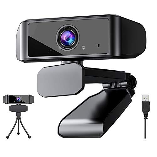 Webcam 1080P mit Mikrofon, Full HD Webkamera PC Webcam USB Camera für Videoanrufe, Konferenzen, Aufzeichnen, Studieren, Kompatibel mit Laptop, Computer, PC, Desktop, Windows, Android und Linux