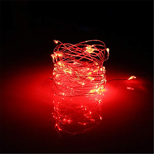 BUYERTIME 5M/16.4ft 50 LEDs Fairy String Lights, Battery AA Operated Silver Wire Fairy Lights for Indoor Bedroom Wedding Christmas Party Decoration (Red)