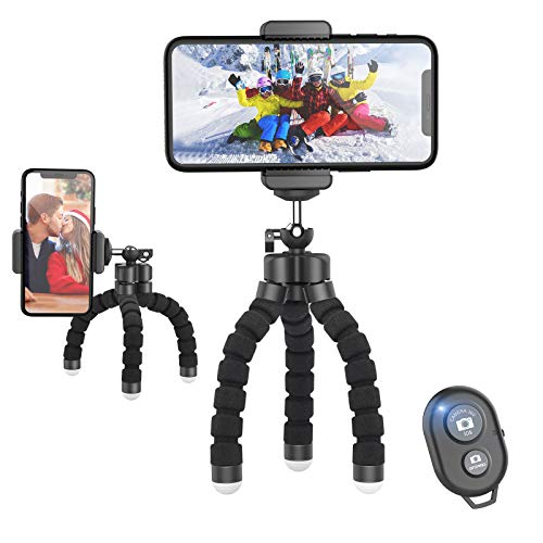 Jumkeet Trépied Smartphone Portable, 360° Mini Trépied Flexible Support pour Téléphone avec Télécommande Bluetooth