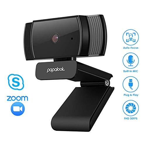 Webcam 1080P, PAPALOOK AF925 con Enfoque Automático y Micrófono de Reducción de Ruido,Diseño Plegable, Giratorio de 360 Grados, Cámara de la Computadora Portátil USB - Negro