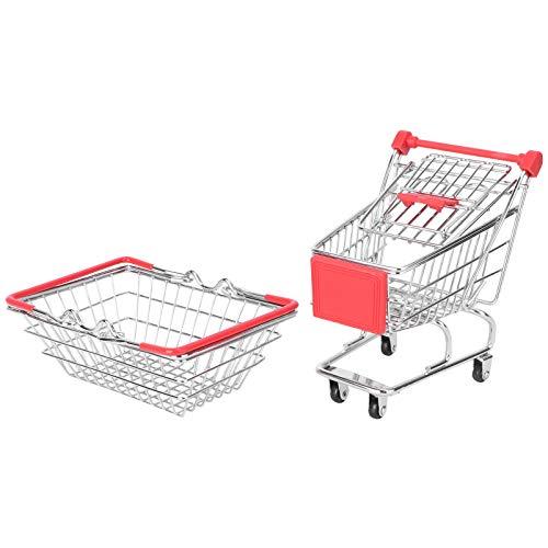 Angoily 2 Piezas Mini Carrito de Compras Supermercado Handcart Juguete Patatas Fritas Cesta de Servicio Novedad Bandeja de Comida Multiuso Casa de Muñecas Escena Adornos (Color Aleatorio)