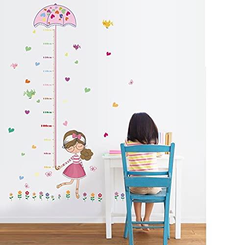 Pegatinas de pared de dibujos animados para niñas, regla de altura, medida, habitación de niños, habitación de niños, guardería para decoración de fiestas, póster mural artístico