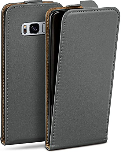 moex Flip Hülle für Samsung Galaxy S8 Hülle klappbar, 360 Grad R&um Komplett-Schutz, Klapphülle aus Vegan Leder, Handytasche mit vertikaler Klappe, magnetisch - Grau