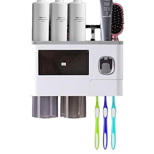 Wekity Zahnbürstenhalter, Automatisch Zahnpastaspender und Zahnbürstenhalter Set mit Wand Montiert für Kinder und Erwachsene, Platzsparender Organizer im Badezimmer mit Schublade (Grau)