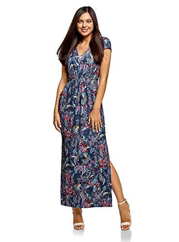 oodji Ultra Damen Maxi-Kleid mit V-Ausschnitt, Blau, DE 38 / EU 40 / M