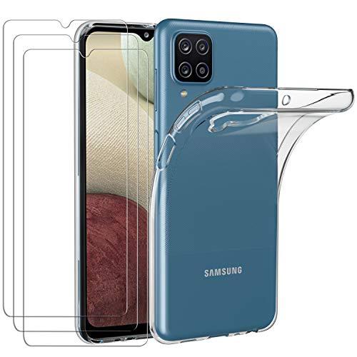 ivoler Funda para Samsung Galaxy A12 / M12 + 3 Unidades Cristal Templado, Transparente TPU Silicona Anti-Choque Anti-arañazos [Carcasa + Vidrio Templado] Protector de Pantalla y Caso