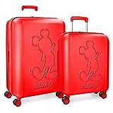 Disney Mickey Premium Juego de maletas Rojo 55/68 cms Rígida ABS Cierre TSA 115L 4 ruedas dobles Extensible Equipaje de Mano