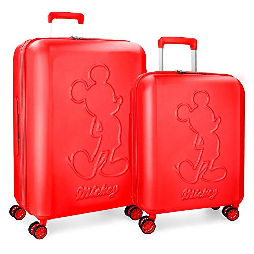 Disney Mickey Premium Red Luggage Set 55/68 cm Rigid ABS TSA Lock 115 Litre 4 Double Wheels Hand Luggage