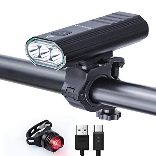 BenRich Bike Lights Set 3000 Lumens, USB Rechargeable Super Bright Bicycle Front and Rear 5200mAh IPX5 Waterproof Headlights 5 Modes for MTB Commuting Night Riding