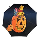 Compact Auto Open/Close Trifold Travel Anti-Uv Umbrella, Windproof Folding Lightweight Reverse Portable Outdoor Parasol Umbrella Rain&Sun, Disney Winnie Pooh and Pigle Pumpkin Lamp