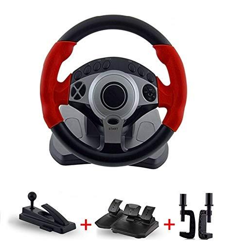 LLGHT Racing Lenkrad und Bremse Pedale Windows-basierter PC, 900 ° Drehung, 18 Programmierbare Tasten, USB-Anschluss, Vibrationsfeedback, für Erwachsene, Kinder
