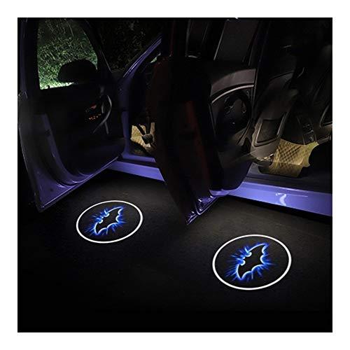 Luz de bienvenida a la puerta 2pcs luz del coche Bat Logo Puerta Sombra Decoración LED Bienvenido láser proyector de la lámpara compatible con Mitsubishi L200 RALLIART Pajero accesorios del coche Luce