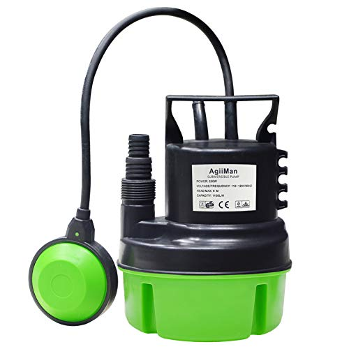 AgiiMan Submersible Utility Sump Pump- Electric Heavy clean Water Pool Pump for Automatic Operation with Float Switch,Transfer from Ponds, Pool, Fountains, Basements, Cellars