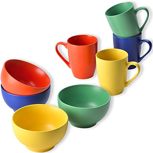 UNITED COLORS OF BENETTON. Set 8 piezas: 4pcs tazas 330ml y 4pcs bowls 650ml, loza (PK2226)