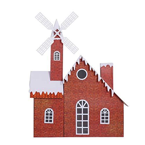 SSBH 150cm Lumière de Noël Musique Moulin à vent Chalet, Décoration de Noël Snow House Mall Hôtel Festival Bar Atmosphère Set Props, moulin à vent Tour - LED - brique rouge
