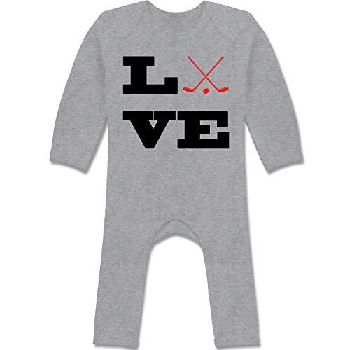 Sport Baby - Eishockey Love - 6/12 Monate - Grau meliert - BZ13_Body_Langarm/Bein - BZ13 - Baby-Body Langarm für Jungen und Mädchen