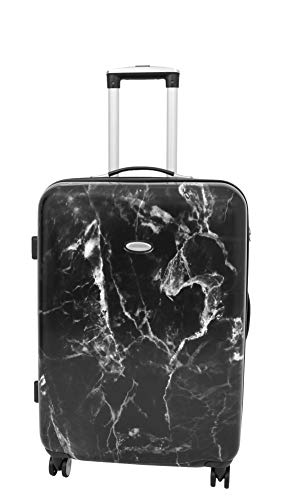 Medium Size 4 Wheel Hard Shell Check-in Luggage Marble Print Expandable TSA Lock Travel Bag Alto Black
