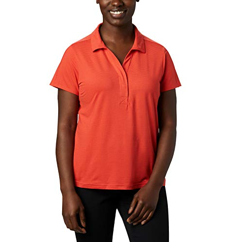 Columbia Firwood Camp II, Polo, Femme, Rouge (Bright Poppy Small Stripe), XL, 1885323