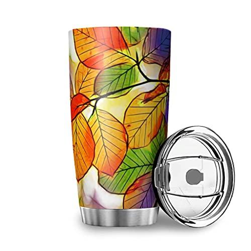 Harneeya Tumbler Colorful Autumn Leaves Stainless Steel Travel Mug Art Tumbler Cup for Home/Office/School 20oz White 20oz
