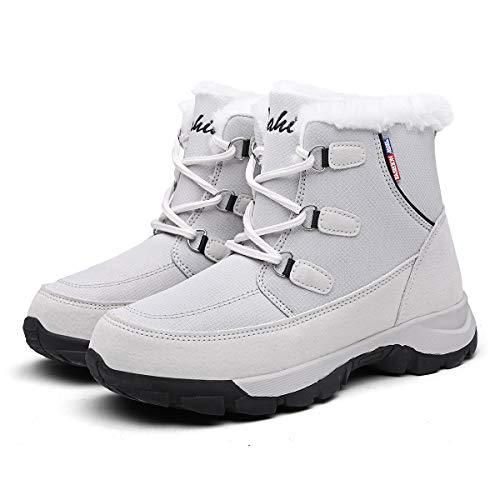 Mujer Botas para Raquetas de Nieve Zapatos Piel Cálida Exteriores Invierno a Prueba Isotherm Transpirable y Duradero 38 EU Gris,24 cm talón a los pies