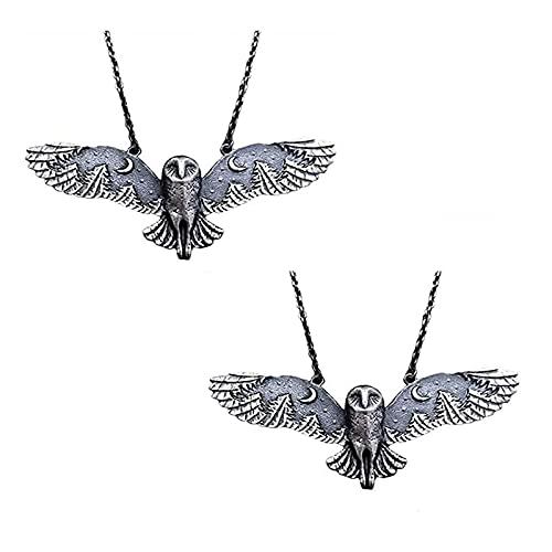 SDFNJK Collar De BúHo, Collar De Bosque De Luna De BúHo De Plata, Collar De BúHo Volador, JoyeríA De Arte De Fase Lunar Collar De TóTem Animal 2 Piezas